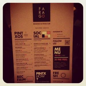 Farago : le menu